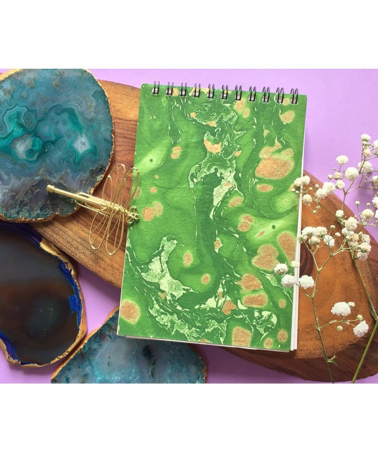 Hand Marbled Notepad(Personalisation Available) - Uptownie