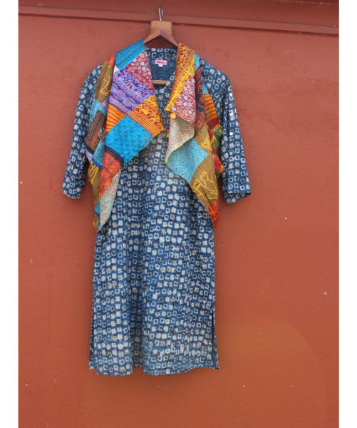 Indigo Box Print V-Neck Tunic