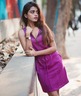 Solid Purple Cotton Dress