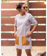 Uptownie X Pearl-Striped White Pocket Dress