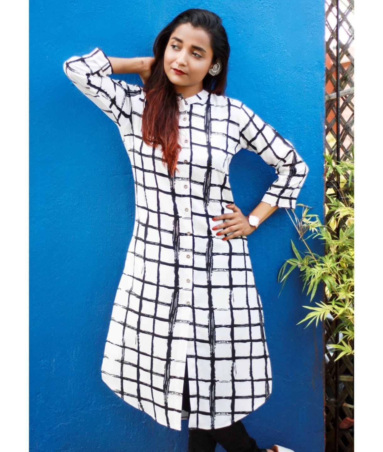Black and White Coloured Crepe Checked Tunic