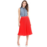 Uptownie Bright Red Pleated Adjustable Culottes 5 summer sale
