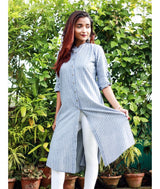 Striped Grey Knee length Roll-Up Sleeves Button down Kurti/Tunic/Kurta