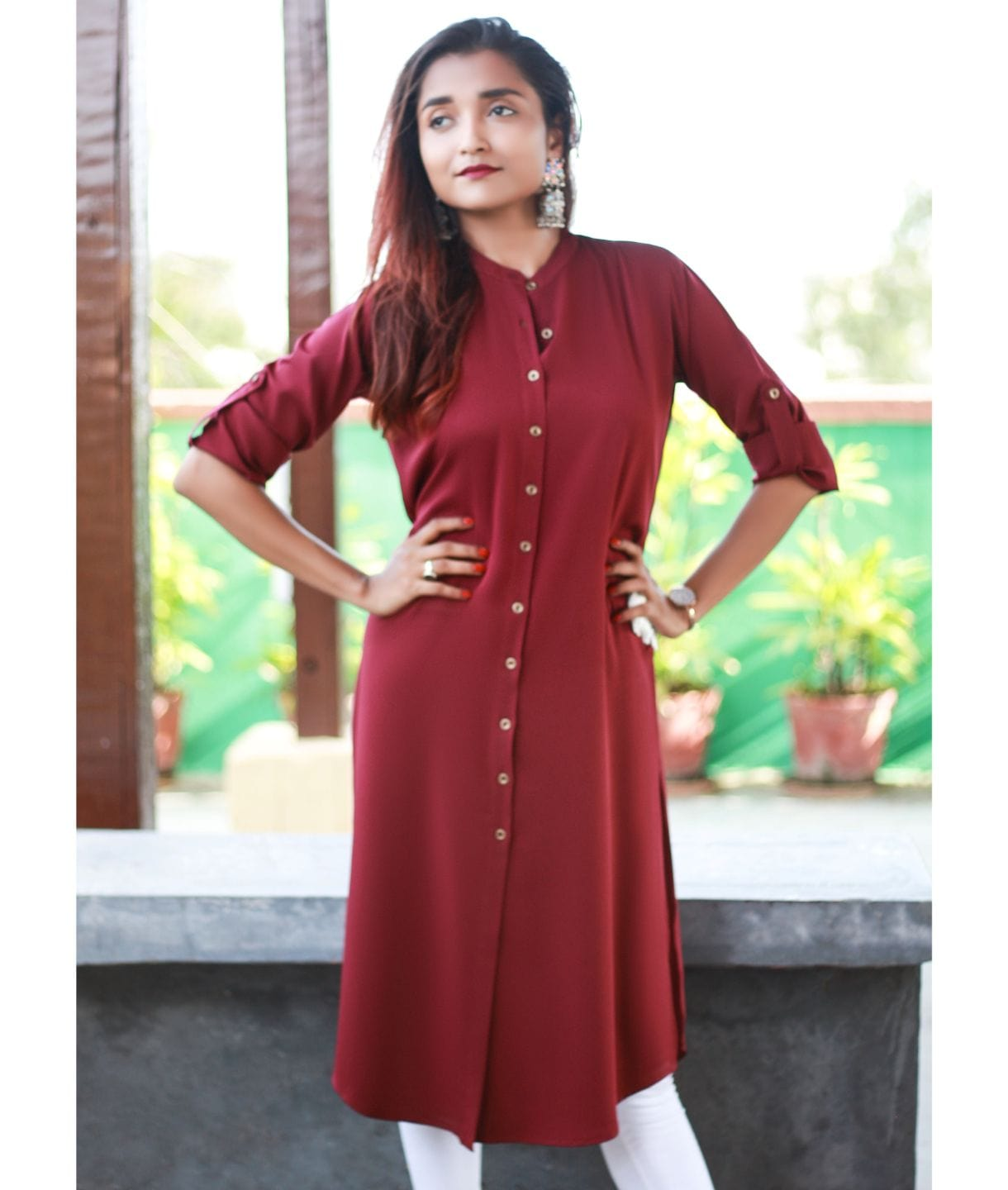 Solid Maroon Roll-Up Sleeves Crepe Kurti