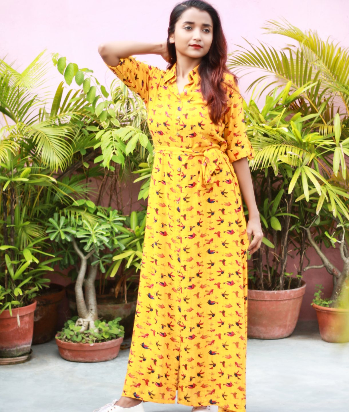 Uptownie Plus Yellow Printed Cotton Roll-Up Sleeves Maxi Dress