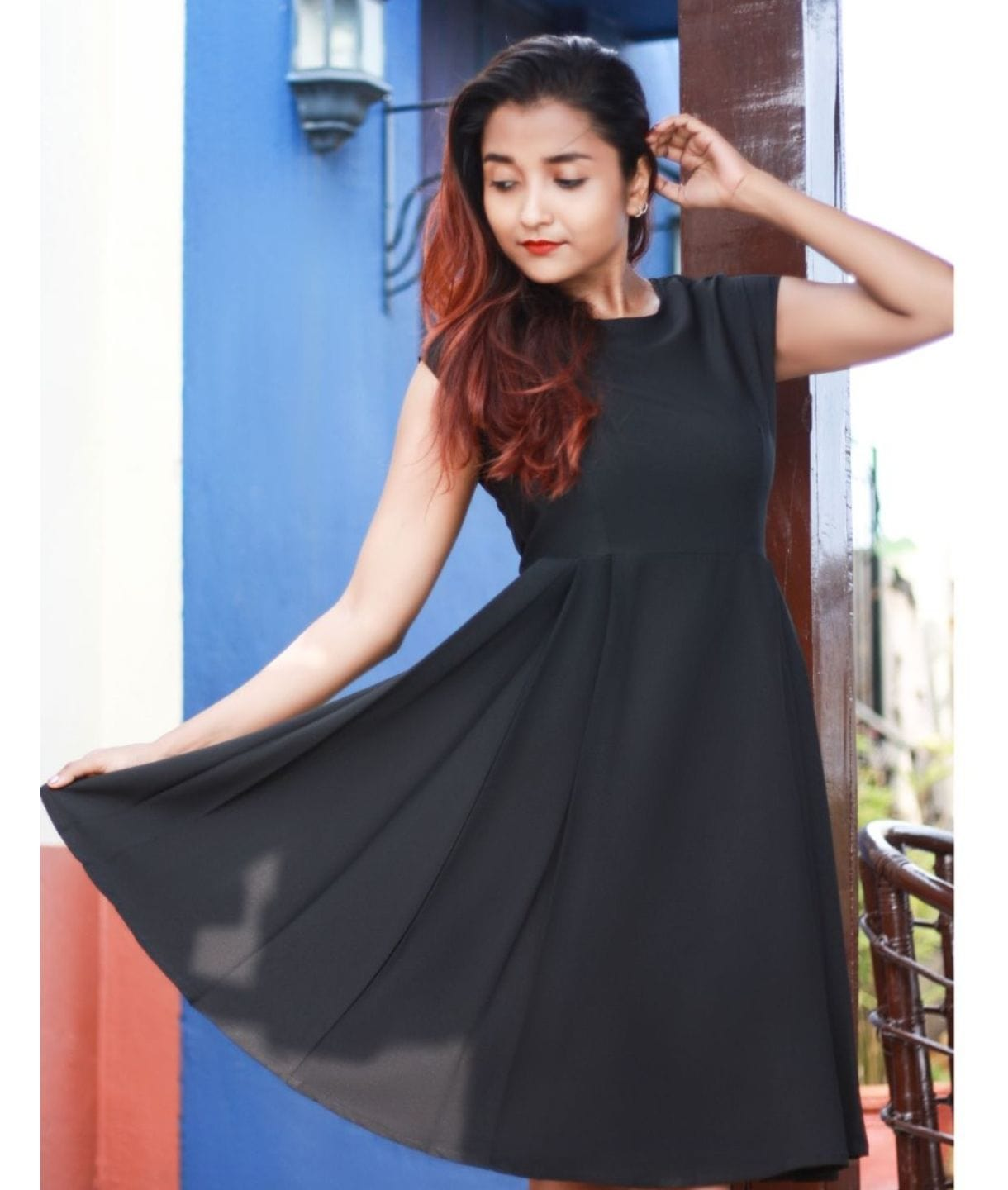 Solid Cap Sleeves Skater Dress