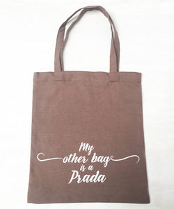 Uptownie X Whistling Yarns Tote Bag - My Other Bag is a Prada(Pack of 1)