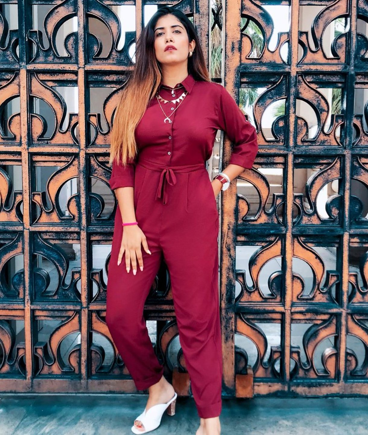 Uptownie Plus Maroon Roll Up Jumpsuit