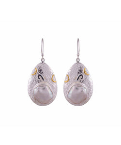 Uptownie Bezzel-Silver Earrings Pearl Gold Polish