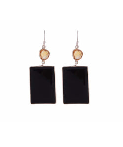 Uptownie Bezzel-Silver Earrings Black Onyx & Citrine