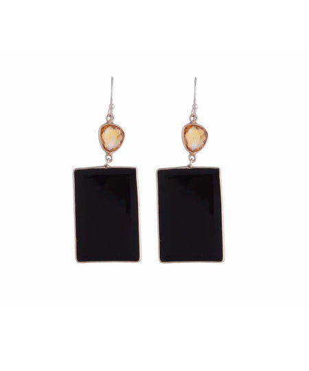 Uptownie X Bezzel-Silver Earrings Black Onyx & Citrine