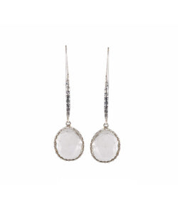 Uptownie Bezzel-Silver Earrings Crystal