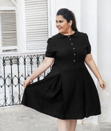 Solid Black Peterpan Collar Skater Maternity Dress