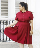 Solid Maroon Peterpan Collar Skater Maternity Dress