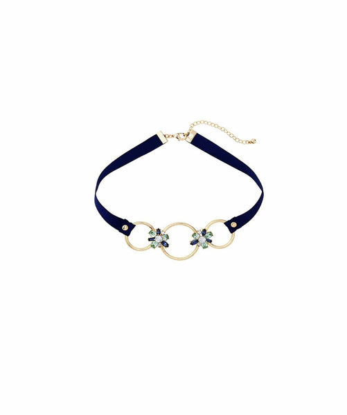 Navy Looped In Necklace - Uptownie