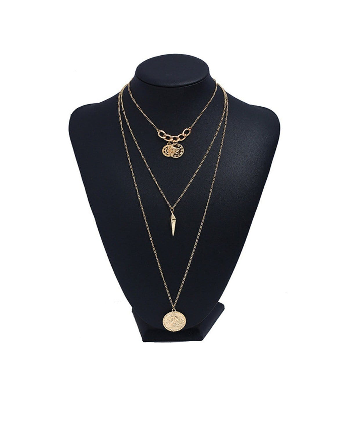 Layered Coin Pendant Necklace - Uptownie