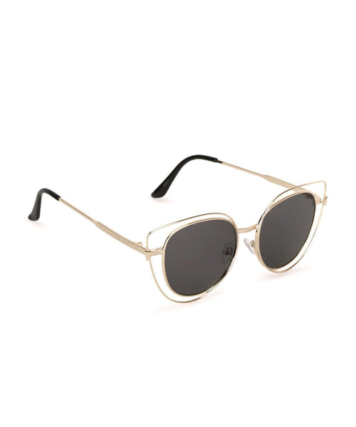 Hollow Cat Eye Black Sunglasses - Uptownie