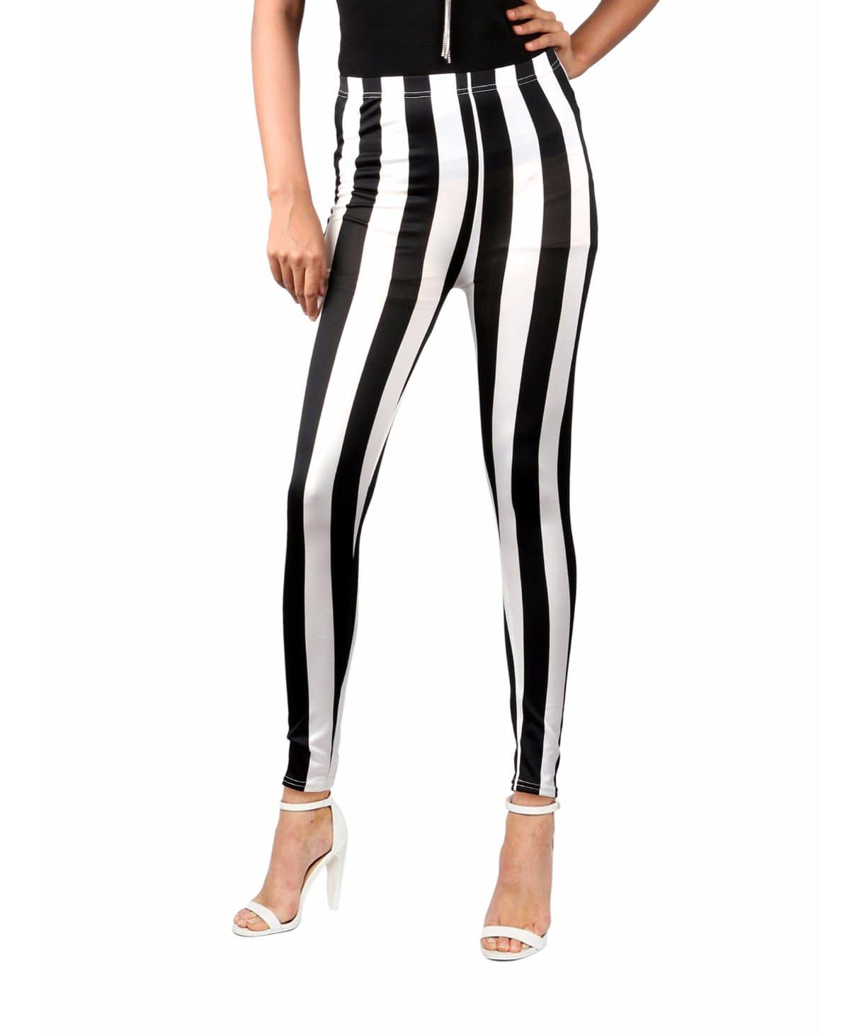 Monochrome Striped Leggings