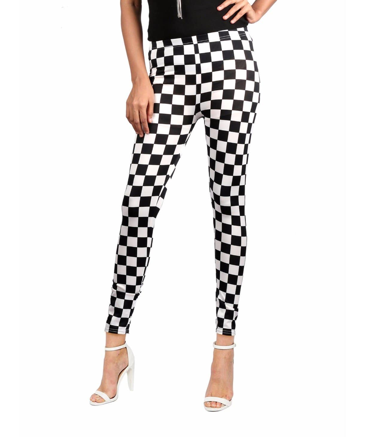 Black & White Checkered Legging Tights