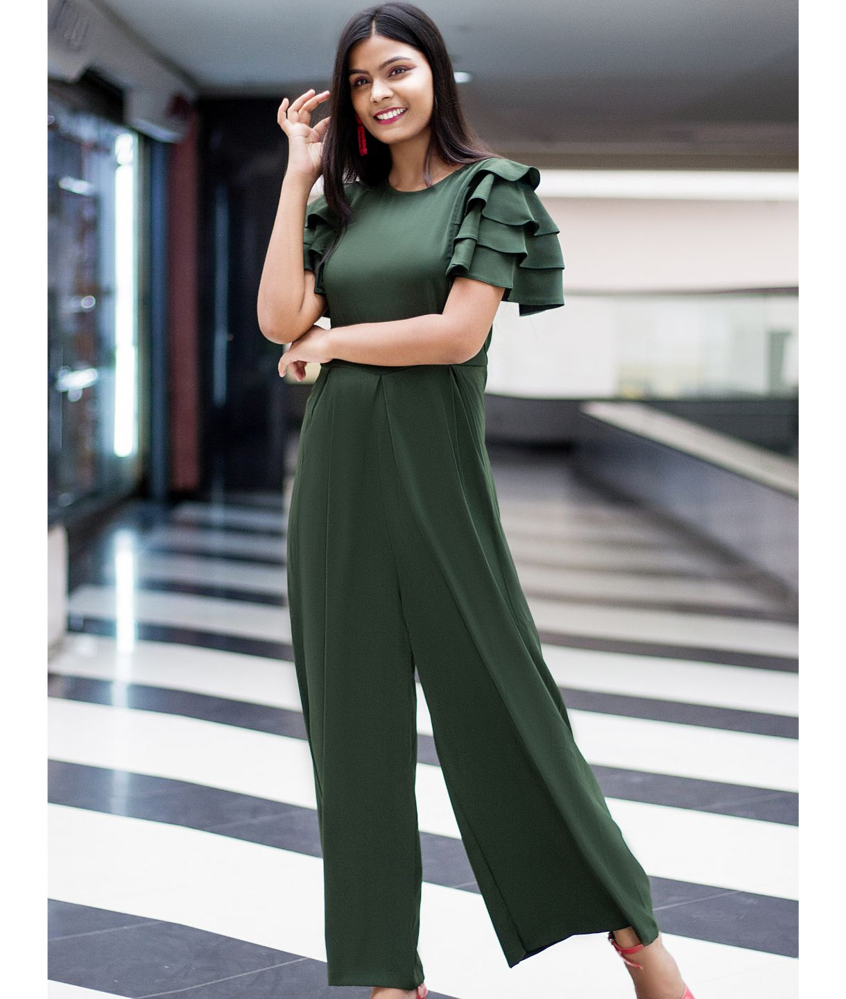 Uptownie Plus Green Solid Relaxed Fit Full Length Jumpsuit With Ruffled Sleeves