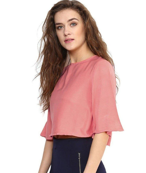 df0839fc3baf5 Light Pink Back Cut out Boxy Crepe Top. BUY 1 GET 3