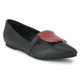 Uptownie X Bootico-Black with cherry Fringe Ballerina - Uptownie