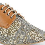 Uptownie X Bootico-Printed Fabric Tan Brogues - Uptownie