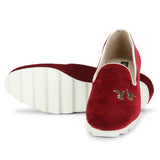Uptownie X Bootico-Wine Twin Bird Velvet Sneakers - Uptownie