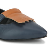 Uptownie X Bootico-Navy With Mango Tan Fringe Ballerinas - Uptownie