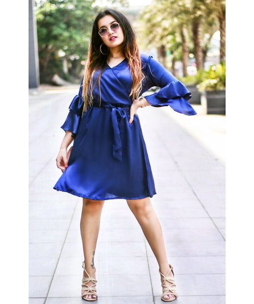 Solid Blue Wrap Neck Ruffle Skater Dress