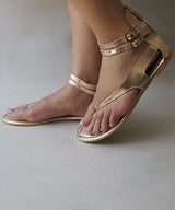 Uptownie X Marlschuz-Rose Gold Flat Sandals - Uptownie