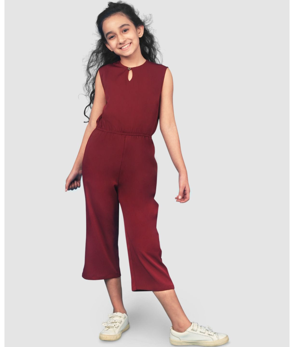 Solid Cutout Girls Culotte Jumpsuit