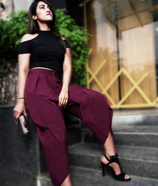 Uptownie Maroon Crepe Tulip Pants 1 clearance sale
