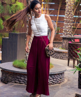 Uptownie Maroon Pleated Crepe Adjustable Palazzo 2 clearance sale