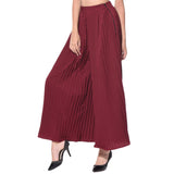 Uptownie Maroon Pleated Crepe Adjustable Palazzo 4 trendsale