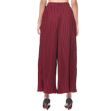 Uptownie Maroon Pleated Crepe Adjustable Palazzo 5 trendsale