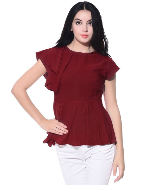Maroon Side Ruffle Peplum Crepe Top. EXTRA 18% OFF