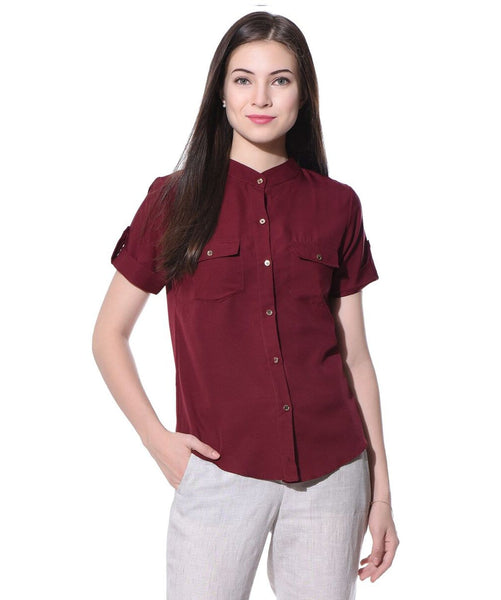 Maroon Solid Button Down Crepe Shirt