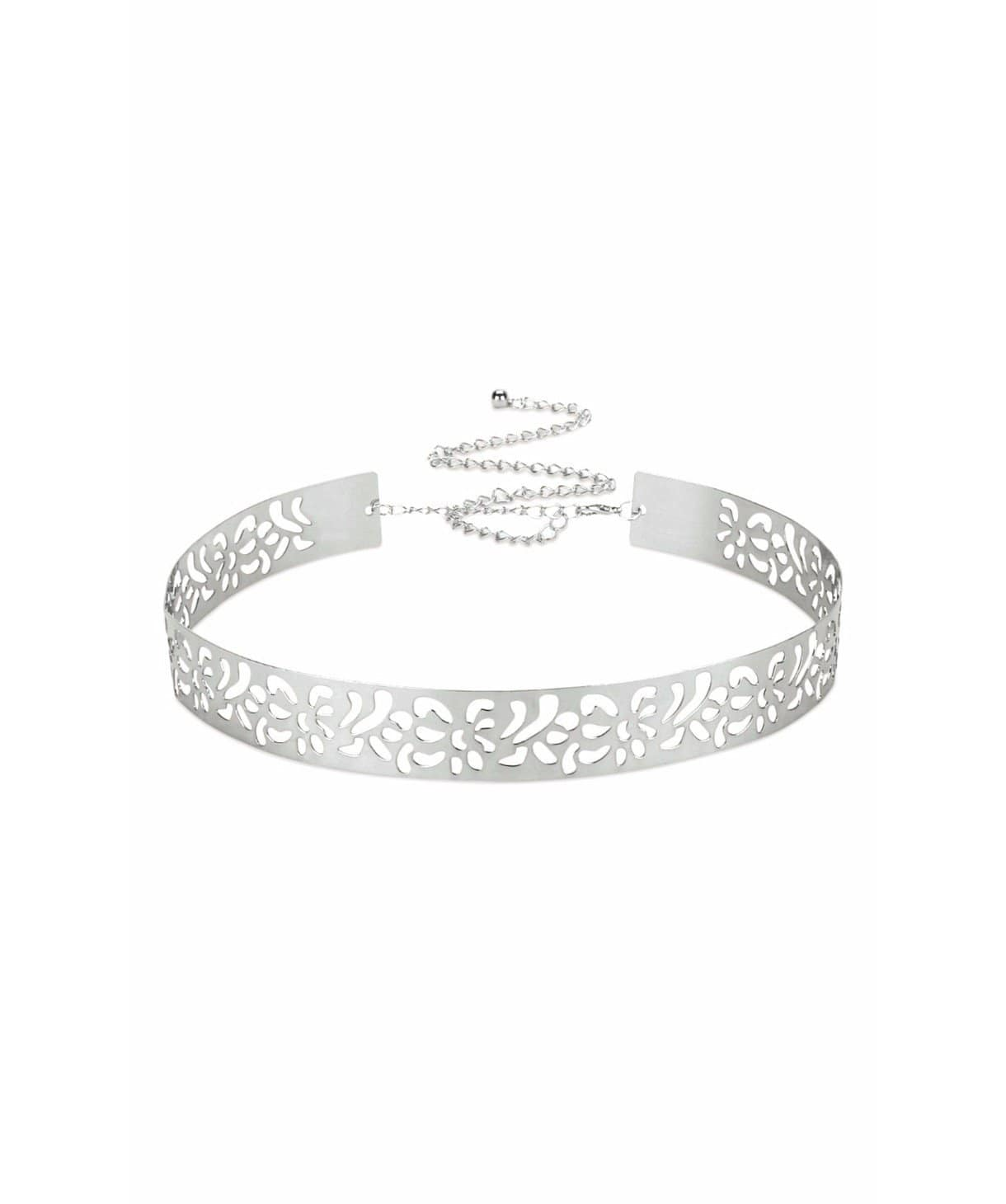 Metallic Cutwork Belt- Silver - Uptownie