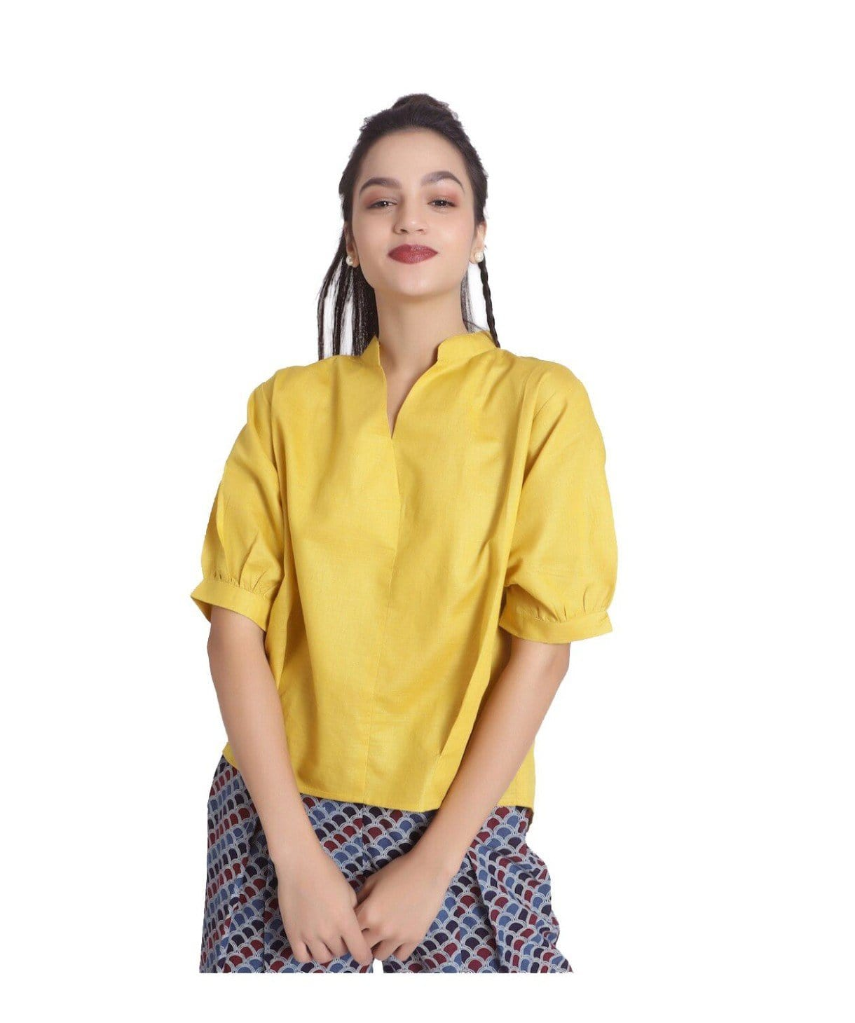 Mustard Peasant Sleeve Linen Top. BUY 1 GET 3