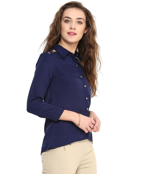 Navy Blue Solid Button Down Crepe Shirt. BUY 1 GET 1