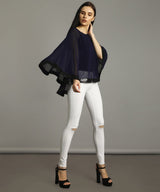 Navy Georgette Cape Top. BUY 1 GET 3
