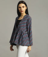 Navy Maroon Printed Shrug Tunic. BUY 1 GET 3
