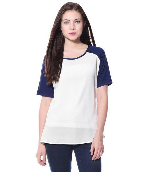 Navy & White Crepe T-shirt. BUY 1 GET 1