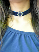 Navy Blue Gem Stone Choker - Uptownie