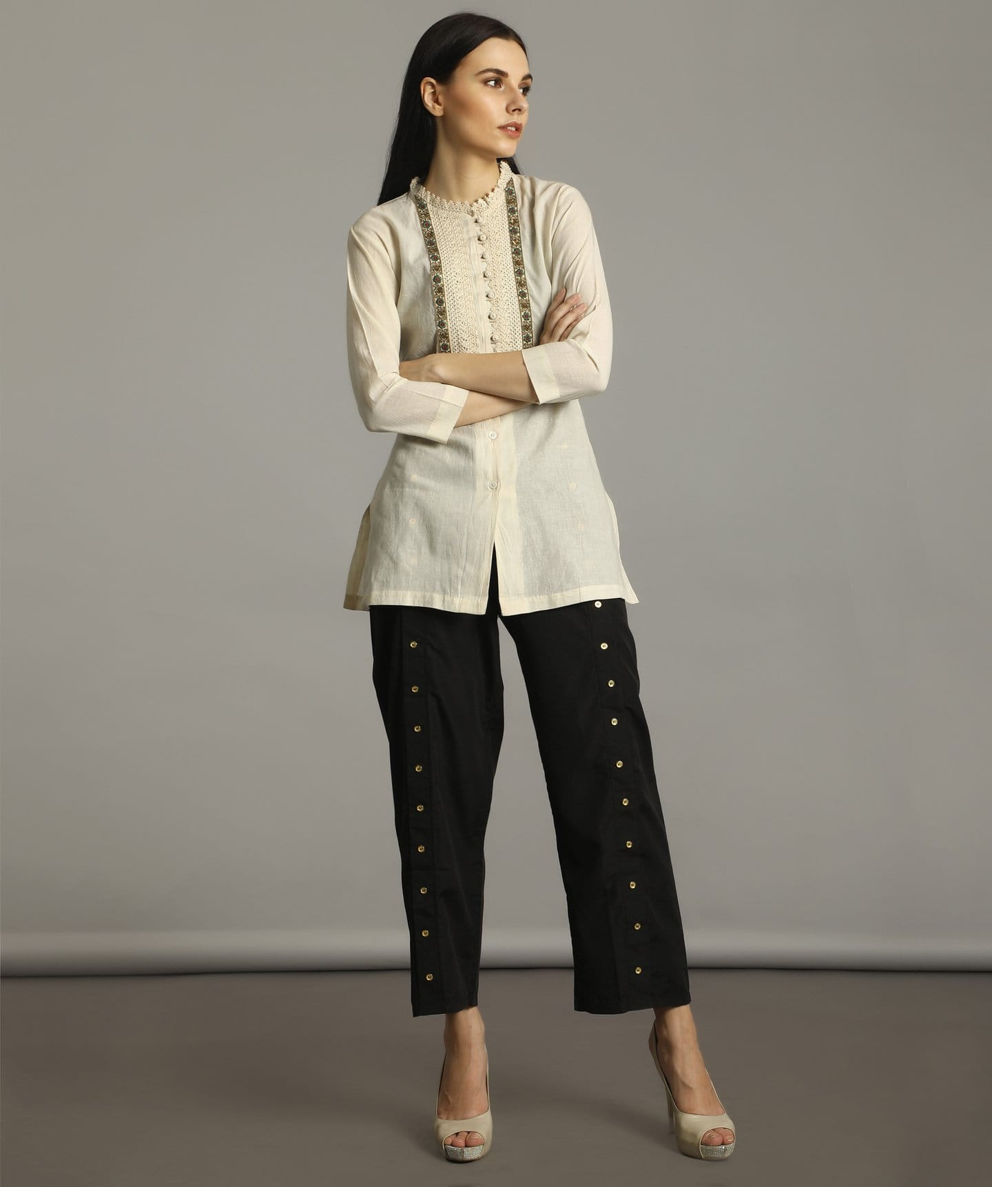 Uptownie Off-White Lacy Collar Tunic 1 trendsale