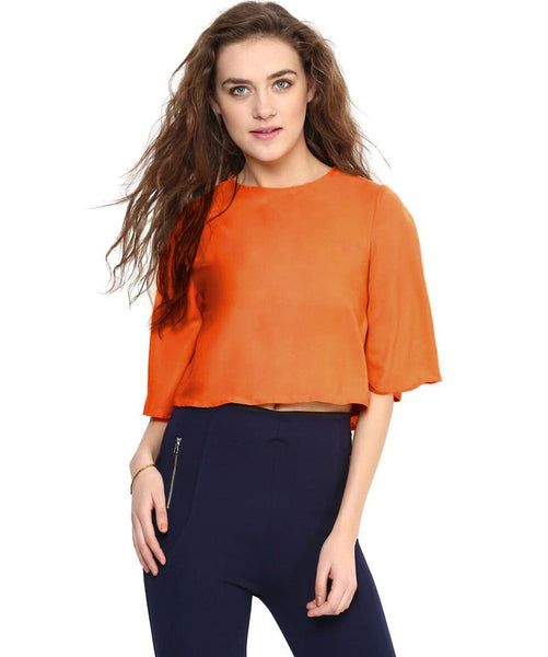 Orange Back Cut Out Boxy Crepe Top