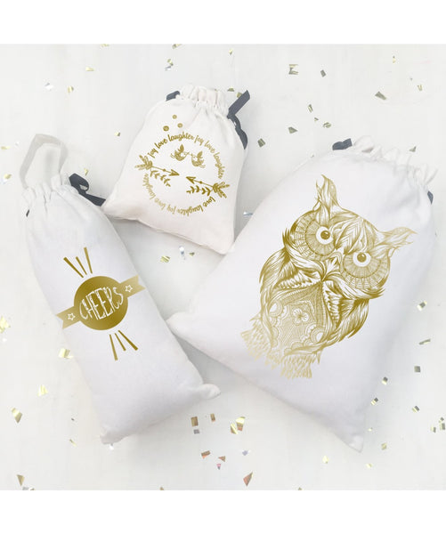 Uptownie X Whistling Yarns Shimmer & Sparkle Bags (Gold on White Owl) - Uptownie
