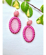 PAULA BRAIDED EARRINGS PINK