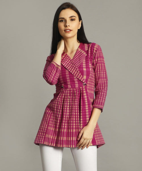 Pink Checkered Wrap Handloom Tunic. BUY 1 GET 3